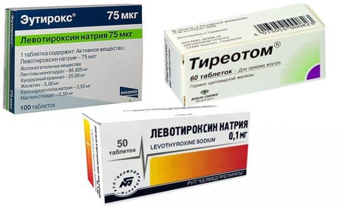 При сниженном количестве гормонов больному показана заместительная терапия в виде тиреоидных средств (Левотироксин, Эутирокс, Тиреотом)