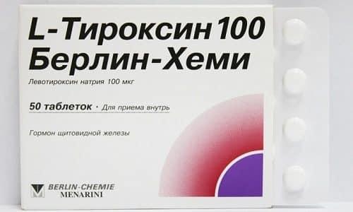 Первичный гипотиреоз лечится тиреоидными препаратами. К примеру, пациенту могут прописать прием L-Тироксина